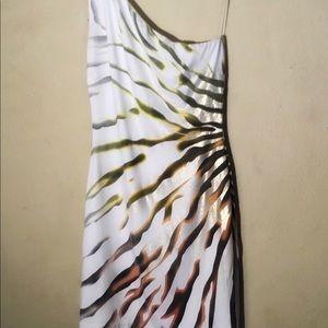 Cache 1 Shoulder Stripe Print Bodycon Dress, Sz XS